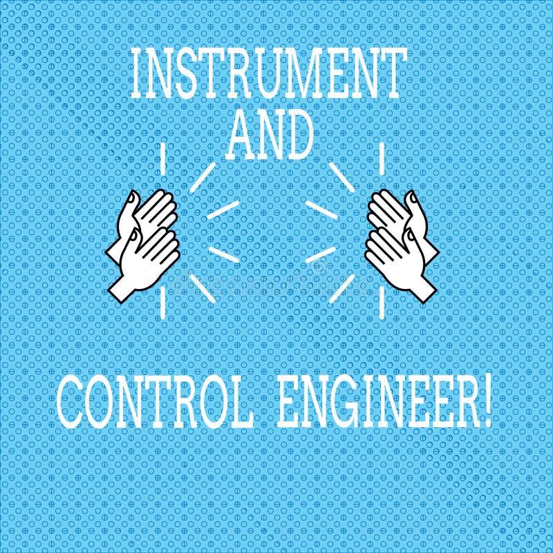 文本标志陈列仪器和控制工程师 设计胡的工业设备图画概念性照片自动化 库存例证