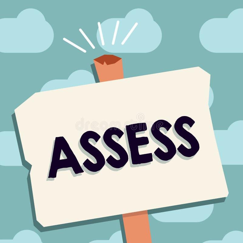 文本标志陈列估计 概念性照片评估或估计产品服务的自然能力质量 向量例证