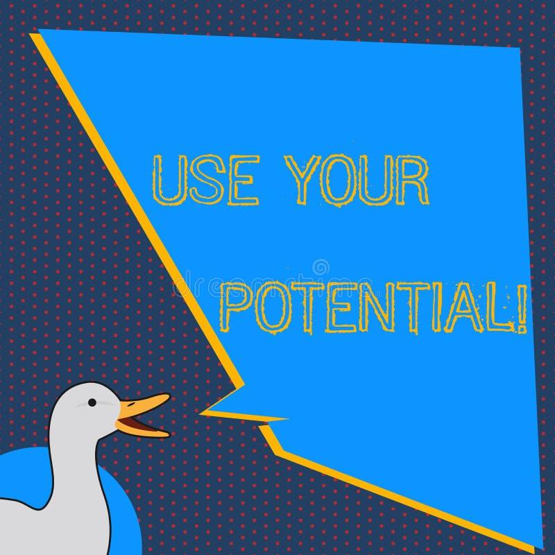 文本标志陈列使用您的潜力 概念性照片达到一样天生能力做可能的照片鸭子 皇族释放例证
