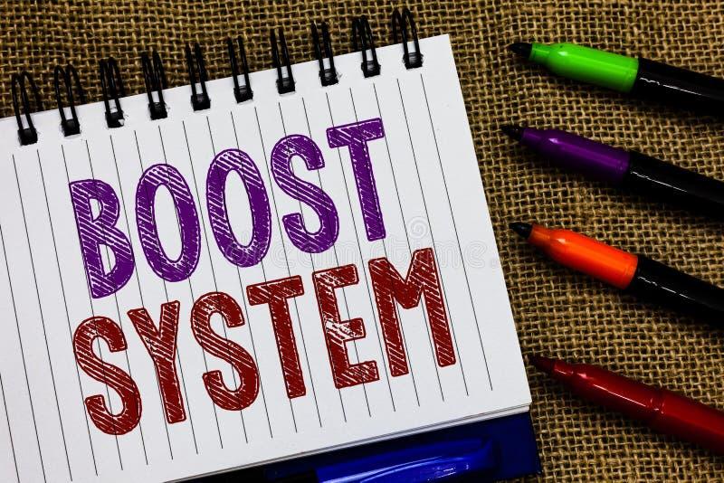 文本标志陈列促进系统 概念性照片振兴升级加强是更加健康的全部方法开放螺纹笔记本 免版税库存照片