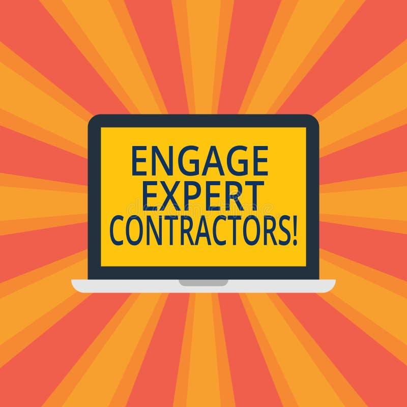 文本标志陈列允诺专家的承包商 概念性照片聘用的熟练的outworkers短时间运作膝上型计算机 向量例证