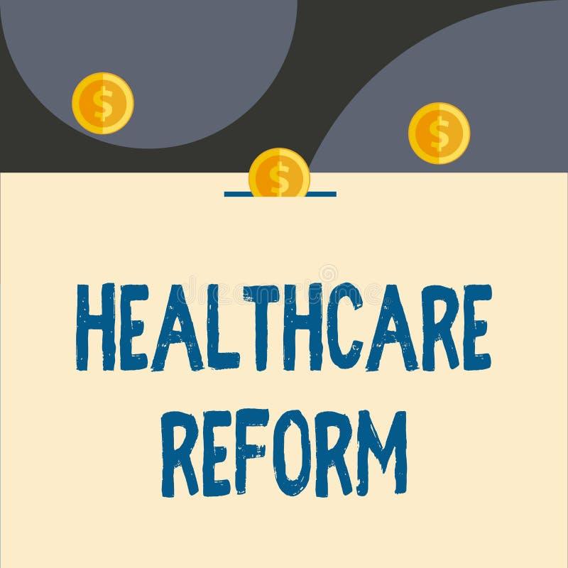 文本标志陈列医疗保健改革 概念性照片创新和改善进入关心节目前面的质量 向量例证