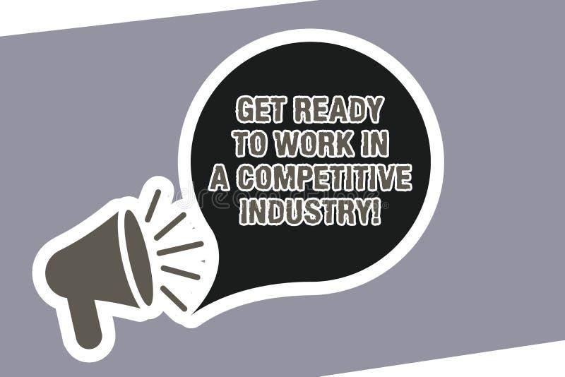 文本标志陈列在竞争产业准备好工作 概念性照片在伟大其他中发展扩音机 向量例证
