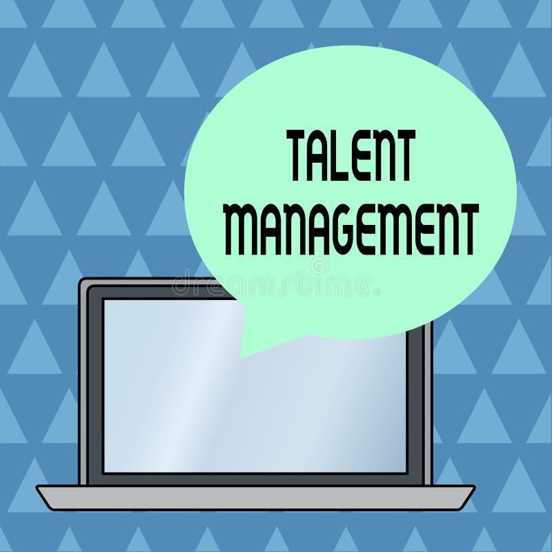 文本标志陈列天分管理 获取雇用和雇用的概念性照片有天才的雇员圆形 向量例证