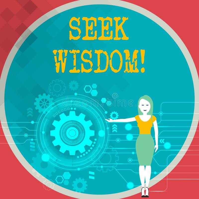 文本标志陈列寻求智慧 使用知识经验了解的妇女,概念性照片能力认为行动 库存例证