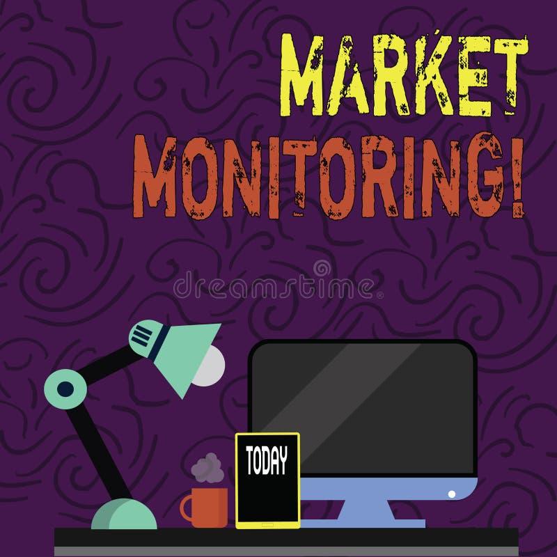文本标志陈列市场监视 概念性照片监督的活动过程中在贸易的中心 向量例证