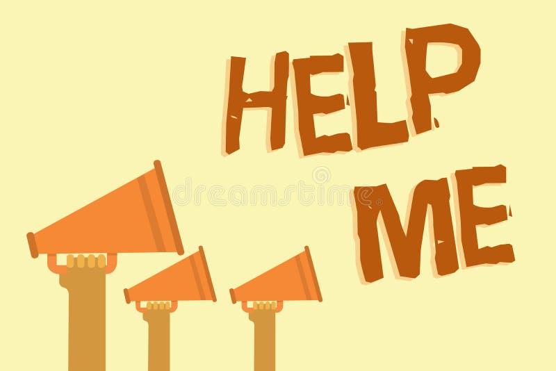 文本标志陈列帮助我 要求概念性的照片某人协助呼喊为它的您拿着megaphon的配合志愿手 皇族释放例证