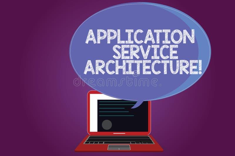 文本标志陈列应用服务建筑学 连接应用程序和数据解答的概念性照片设计  皇族释放例证