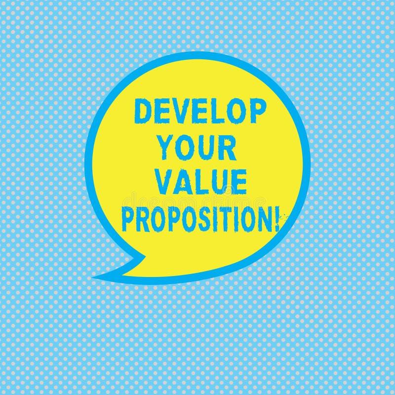 文本标志陈列开发您的价值提议 概念性照片准备营销策略销售摊点空白的讲话 皇族释放例证