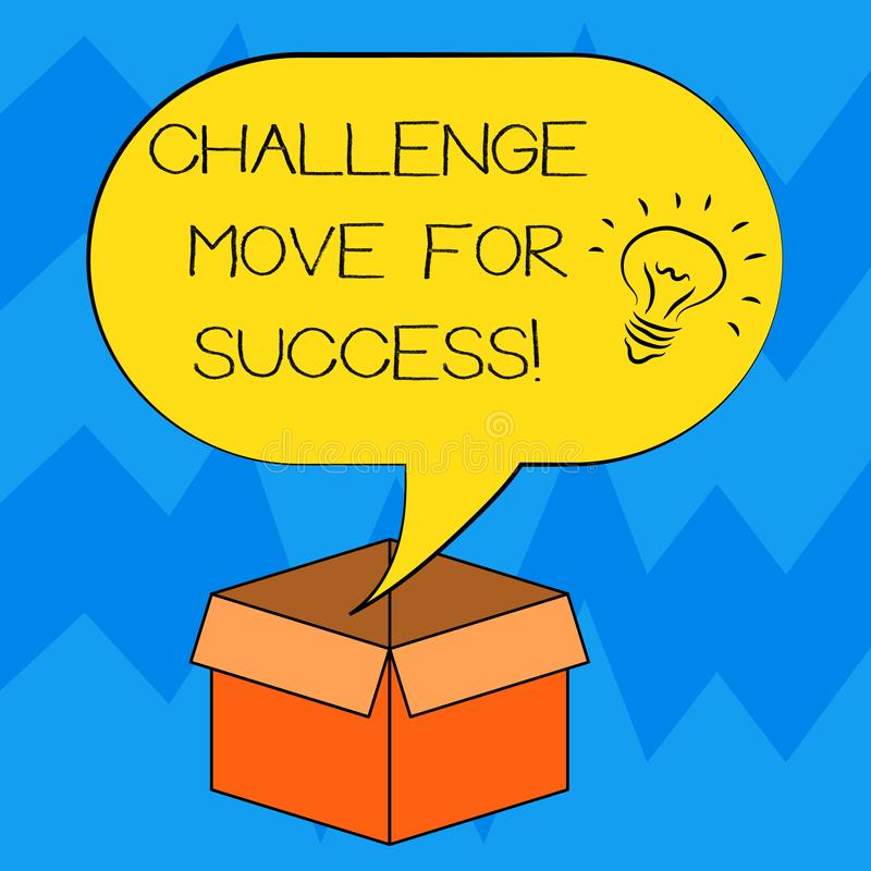 文本标志陈列成功的挑战移动 概念性成功想法象的照片专业运动战略 库存例证