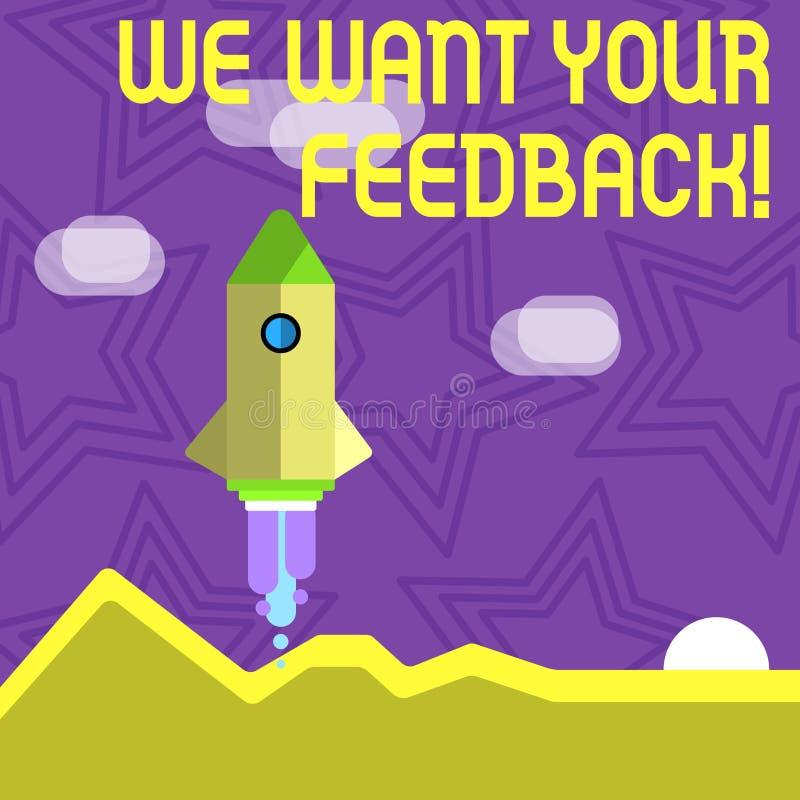 文本标志陈列我们想要您的反馈 指定的概念性照片批评某人说可以为改善做 库存例证