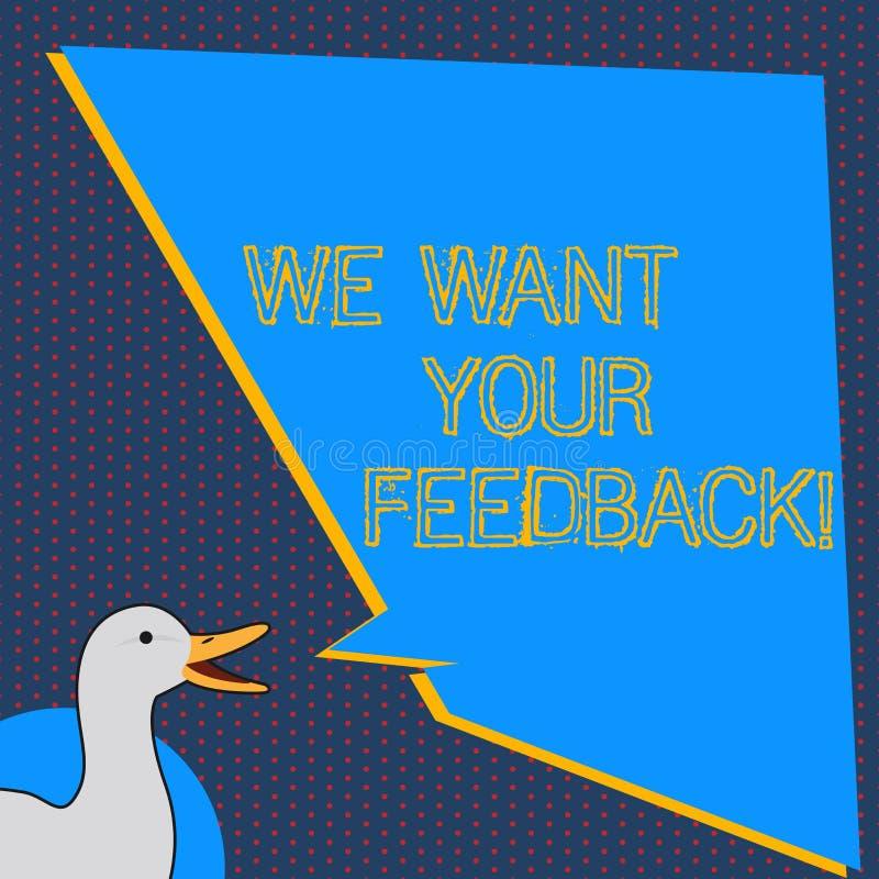 文本标志陈列我们想要您的反馈 指定的概念性照片批评某人说可以为改善照片做 皇族释放例证