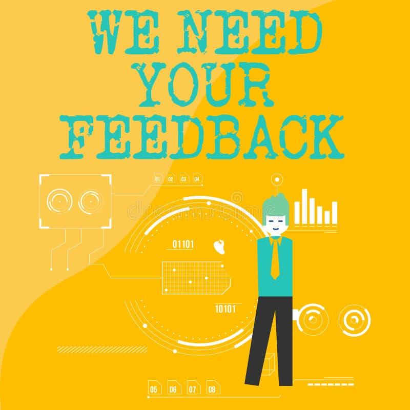文本标志陈列我们需要您的反馈 概念性照片批评指定说可以是完成的改善人身分 向量例证
