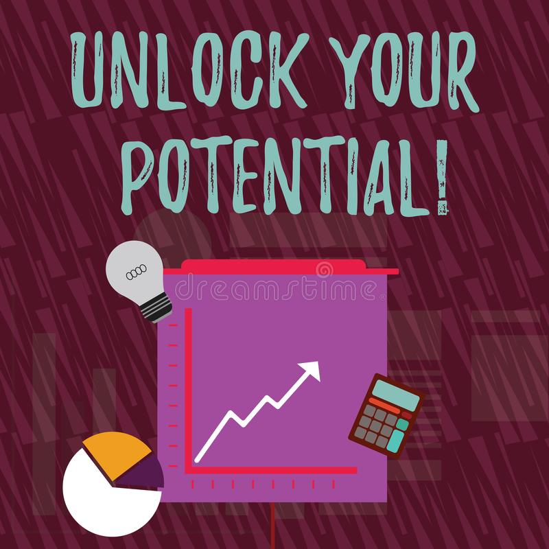 文本标志陈列打开您的潜力 概念性照片发行可能性教育和训练是关键投资 向量例证