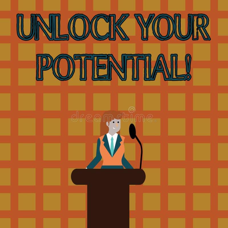 文本标志陈列打开您的潜力 概念性照片发行可能性教育和训练是钥匙 库存例证