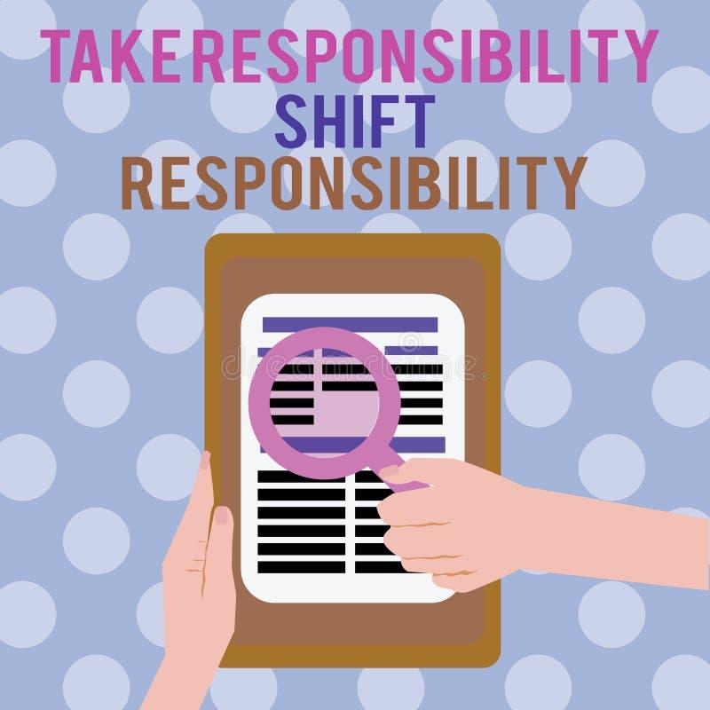 文本标志陈列承担责任转移责任 概念性照片成熟采取义务 库存例证