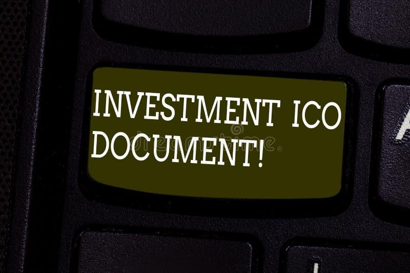 文本标志陈列投资Ico文件 概念性照片归档状态在blockchain键盘键后的技巧 免版税库存照片