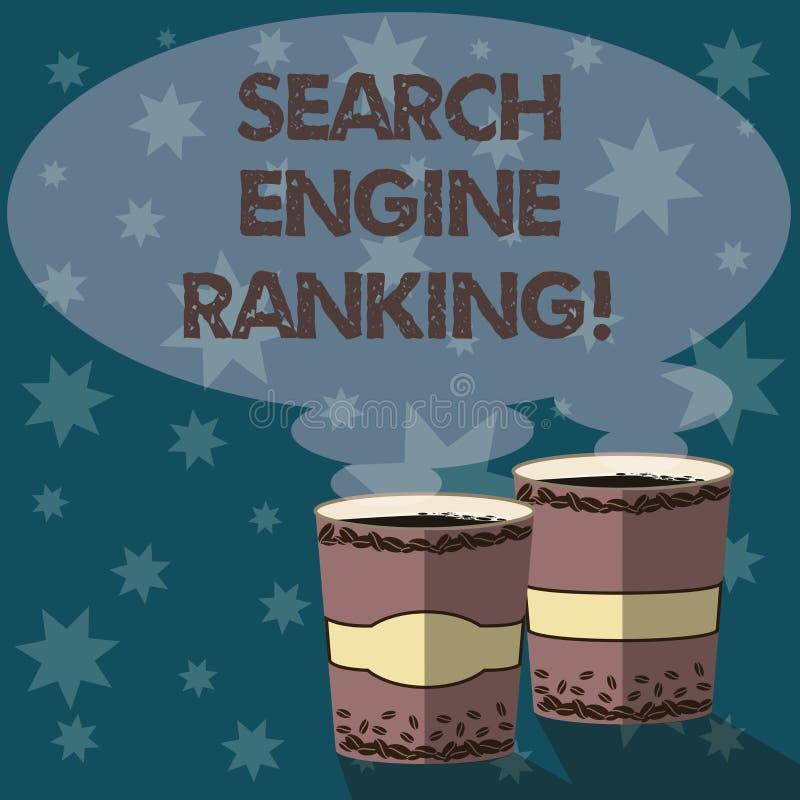 文本标志陈列搜索引擎等级 站点出现于搜索引擎询问两努力去做杯的概念性照片等级 皇族释放例证