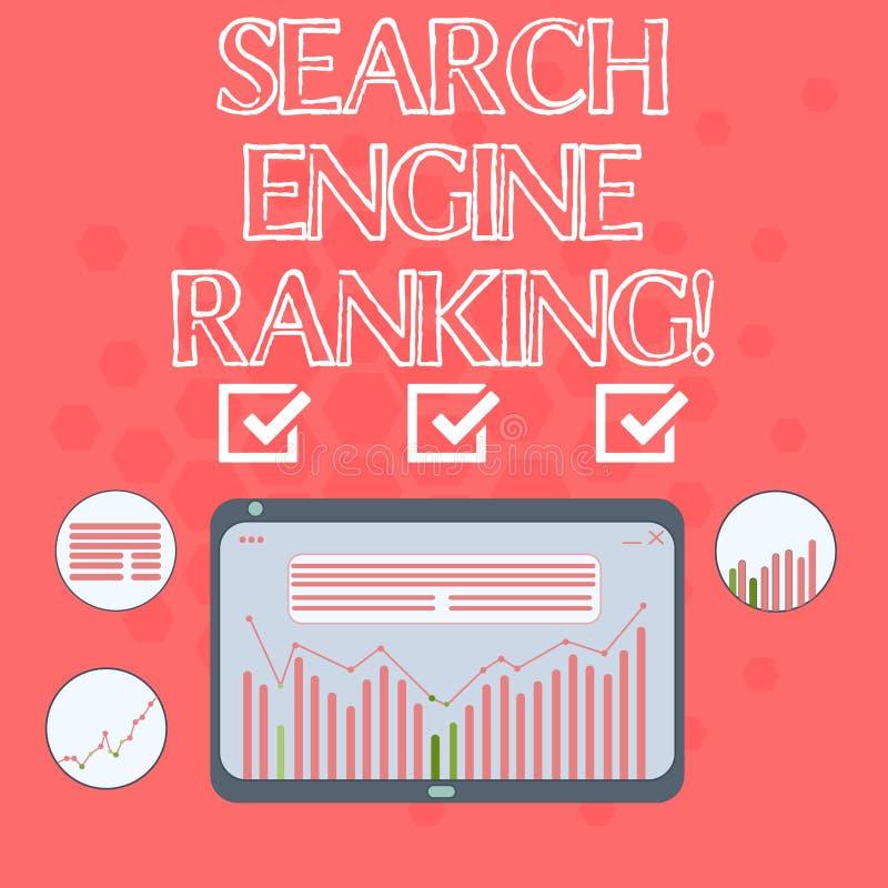 文本标志陈列搜索引擎等级 站点出现于搜索引擎询问数字的概念性照片等级 向量例证