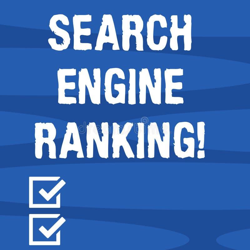 文本标志陈列搜索引擎等级 站点出现于搜索引擎询问的概念性照片等级 皇族释放例证