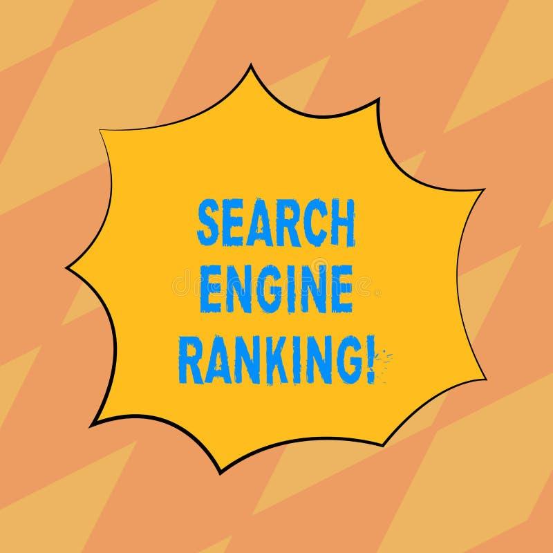 文本标志陈列搜索引擎等级 站点出现于搜索引擎询问空白的概念性照片等级 向量例证