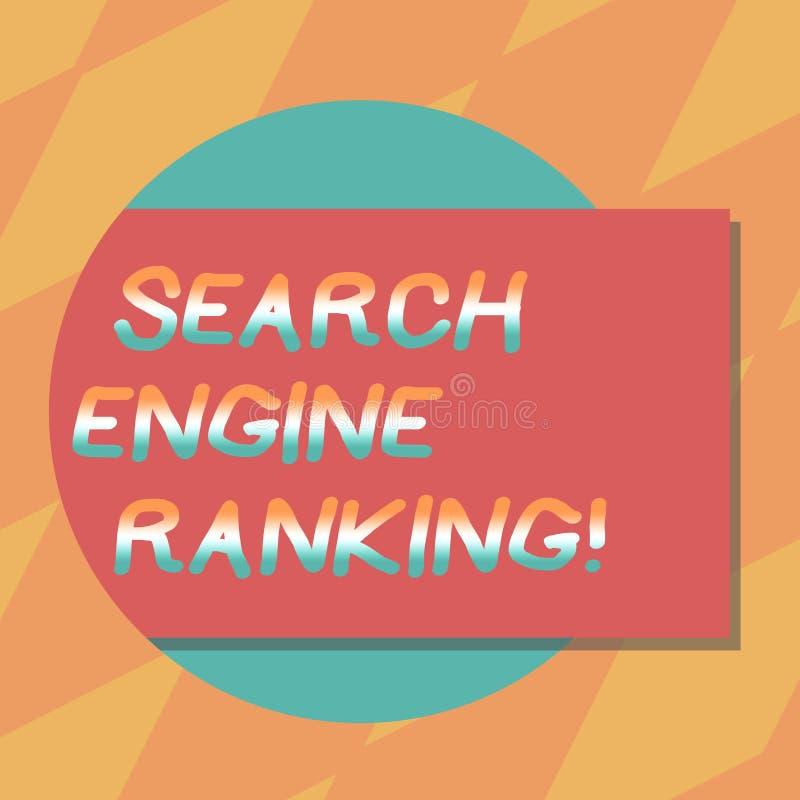 文本标志陈列搜索引擎等级 站点出现于长方形搜索引擎询问的空白的概念性照片等级 向量例证