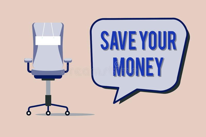 文本标志陈列救球您的金钱 概念性照片在银行保留您的储款或保护它的股票不浪费 向量例证