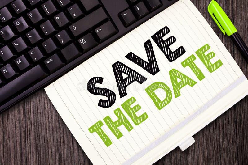 文本标志陈列救球日期 概念性照片系统化了事件记录被归档的预定的活动 免版税库存照片