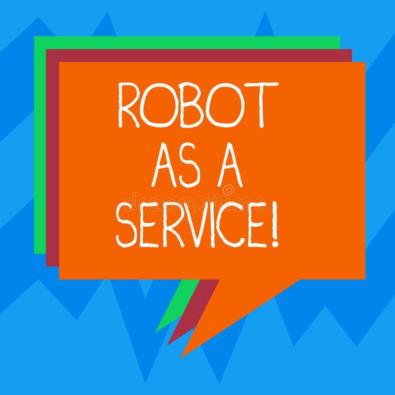 文本标志陈列机器人作为服务 概念性照片人工智能数字协助闲谈马胃蝇蛆堆  库存例证