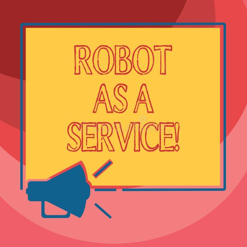 文本标志陈列机器人作为服务 概念性照片人工智能数字协助闲谈马胃蝇蛆扩音机 皇族释放例证