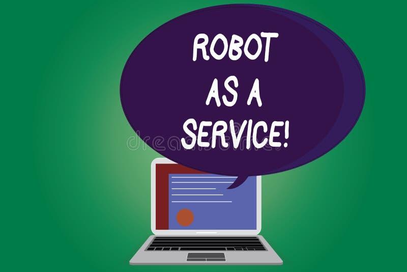 文本标志陈列机器人作为服务 概念性照片人工智能数字协助闲谈马胃蝇蛆证明 向量例证