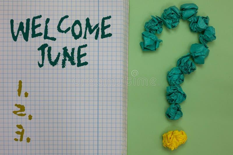 文本标志陈列欢迎6月 概念性照片日历第六个月二季度三十几天问候被弄皱的笔记本纸 皇族释放例证