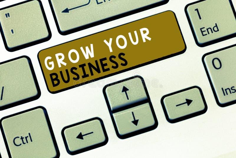 文本标志陈列生长您的事务 概念性照片达到更高的赢利提供投资更好的回归  库存例证