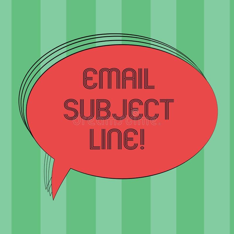 文本标志陈列电子邮件主题线 辨认电子邮件或消息意向空白的长圆形的概念性照片介绍 库存例证