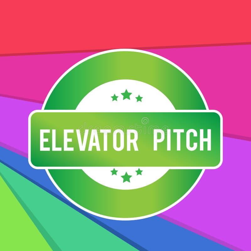 文本标志陈列电梯沥青 概念性照片A令人信服的销售摊点简要的讲话关于产品色的回合 向量例证
