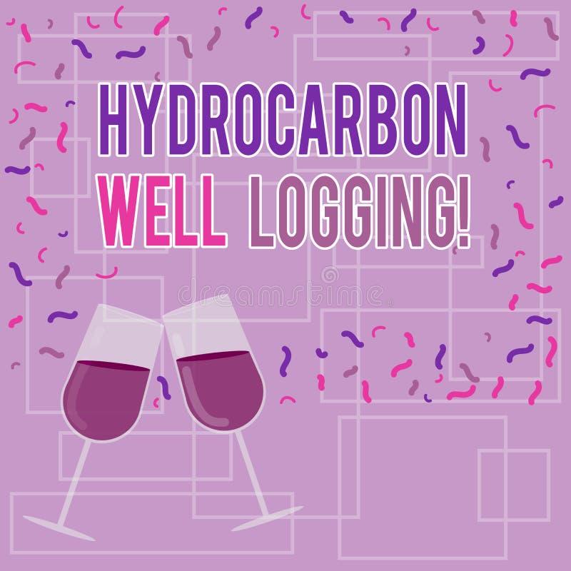文本标志陈列碳氢化合物钻井测试 钻孔被填装的酒杯的地质结构的概念性照片纪录 向量例证