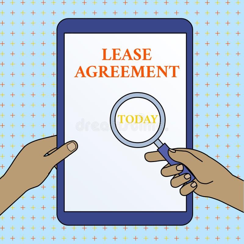 文本标志陈列租借协定 以方式的概念性照片合同对一个党同意租物产手 向量例证