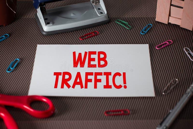文本标志陈列网交通 访客送和接受的概念性照片相当数量数据对网站剪刀和 图库摄影