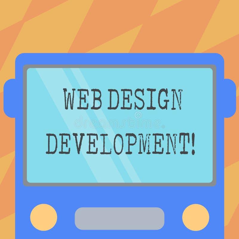 文本标志陈列网络设计发展 概念性主持的照片开发的网站通过内部网拉长的平的前面 库存例证
