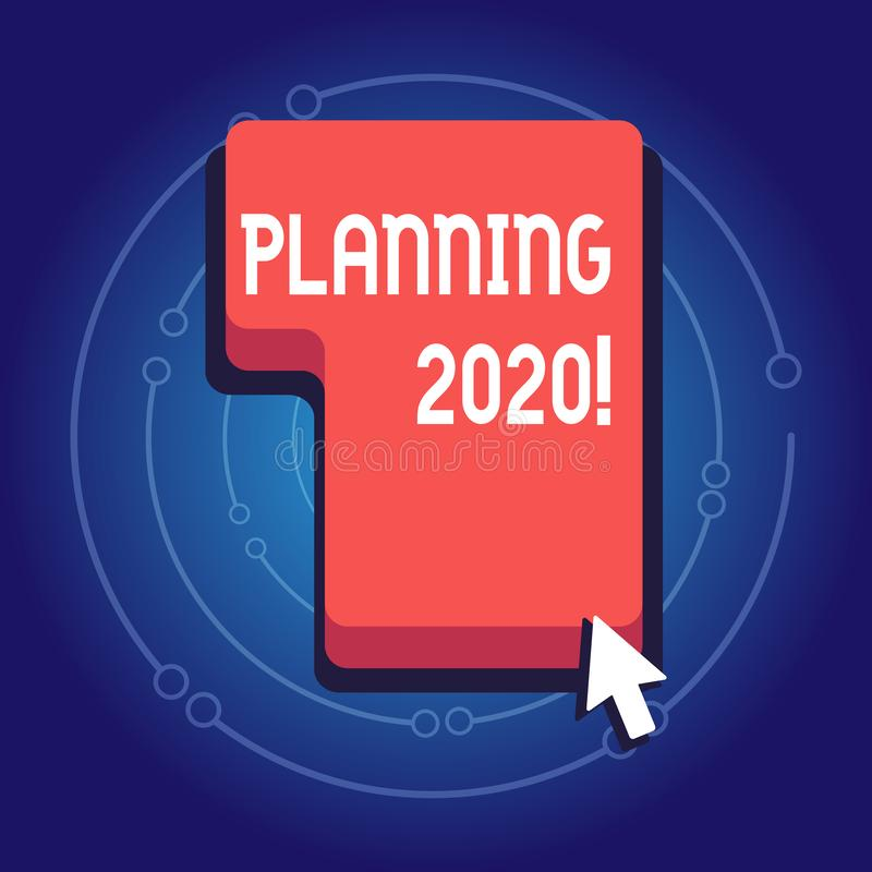 文本标志陈列计划2020年 做某事的计划明年方向的概念性照片过程按或 库存例证