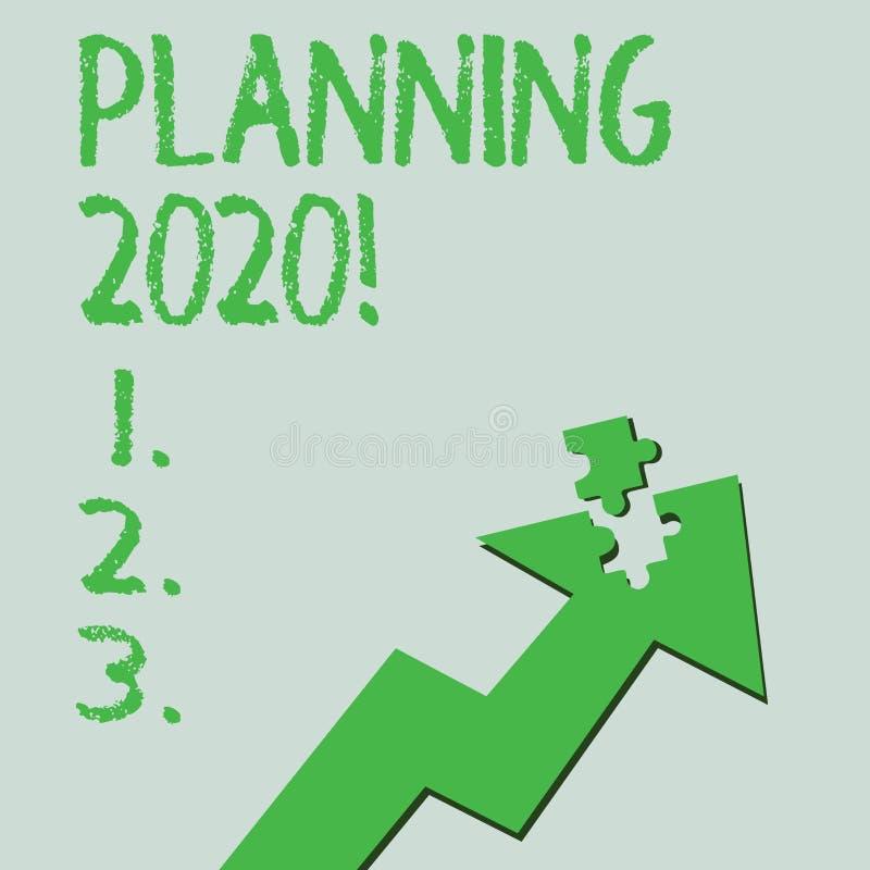文本标志陈列计划2020年 明年做某事的计划五颜六色的箭头的概念性照片过程 向量例证