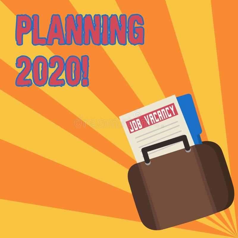 文本标志陈列计划2020年 明年做某事的计划公告文件的概念性照片过程 库存例证