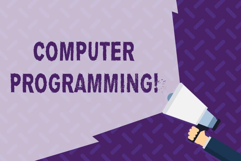 文本标志陈列计算机编程 指示关于怎样的一台计算机做任务手的概念性照片过程 向量例证