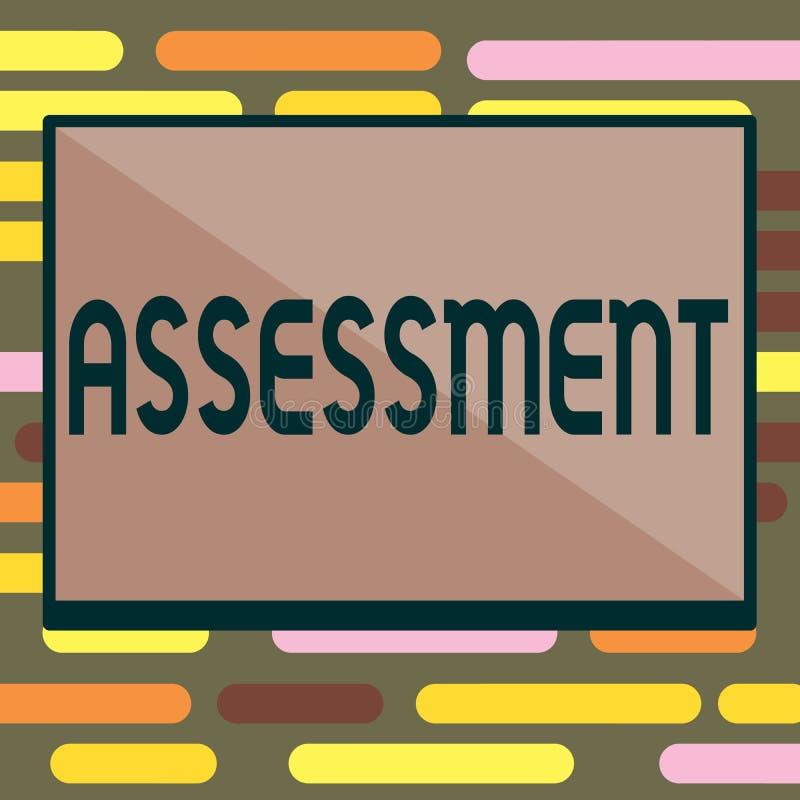 文本标志陈列评估 判断某事的决定的数额价值质量重要性概念性照片 向量例证