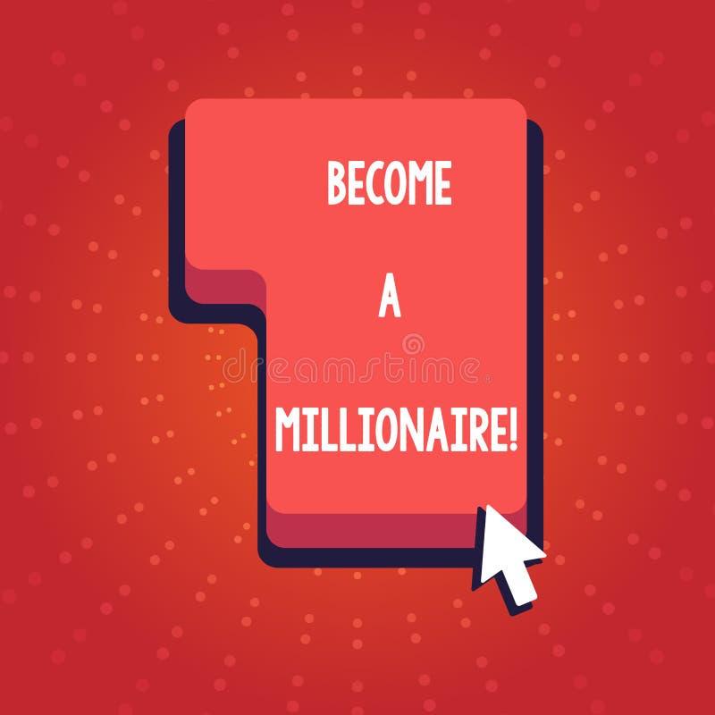文本标志陈列适合百万富翁 财富是相等的或超过一百万的概念性照片个体 向量例证