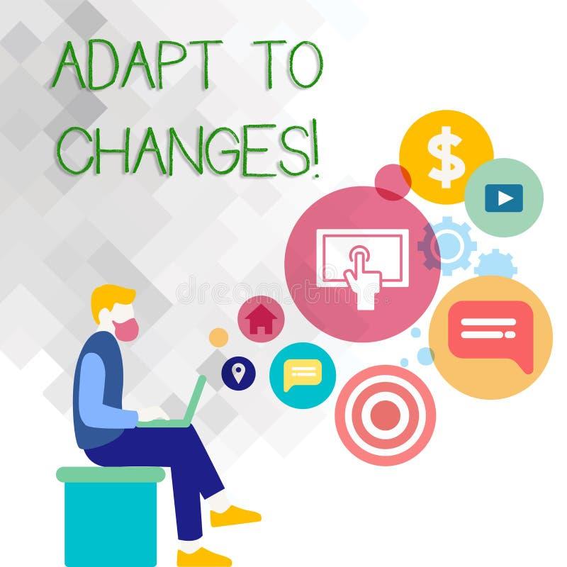 文本标志陈列适应变动 概念性与技术演变人的照片创新变动适应 向量例证