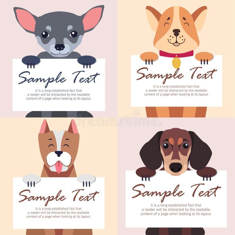 文本的四张纯血统狗举行白色卡片 库存例证