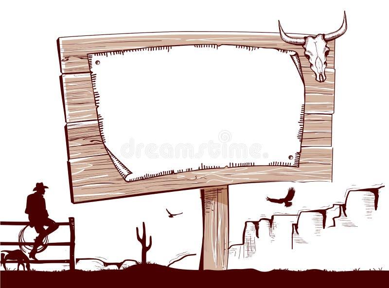 文本的木标志背景 牛仔大农场 库存例证