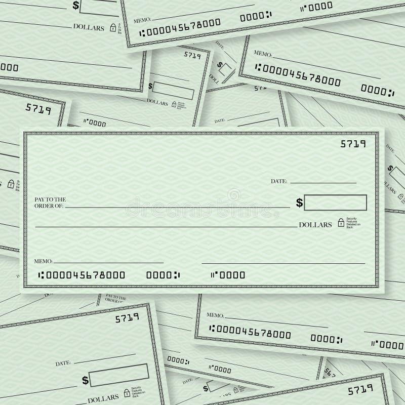 文本的空白支票堆背景露天场所 向量例证