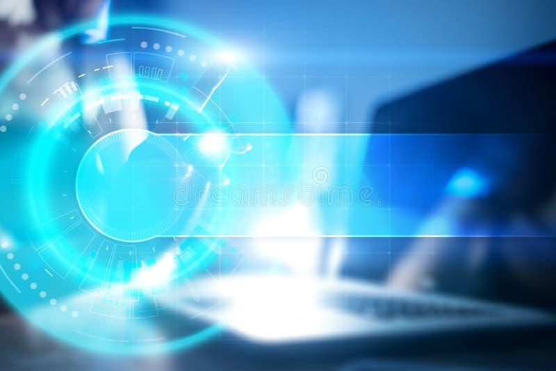 文本的空间在抽象背景 虚屏未来派接口 创新技术互联网概念 皇族释放例证